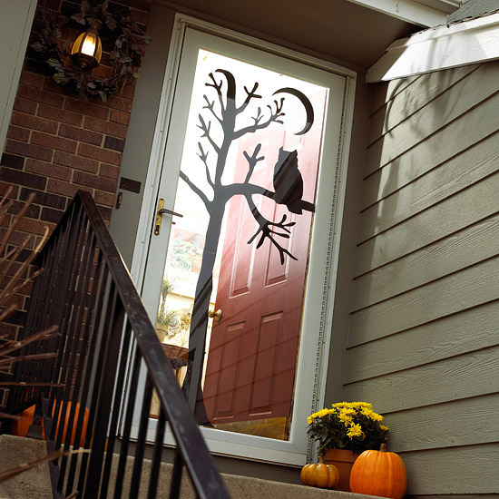 Owl-in-Tree Door Silhouette Halloween door