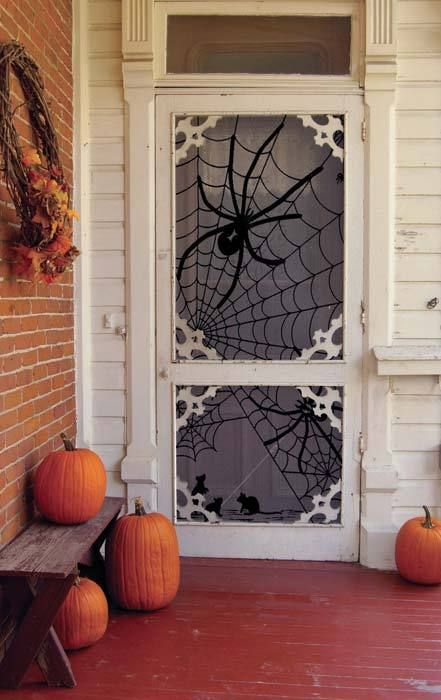 giant spider halloween door