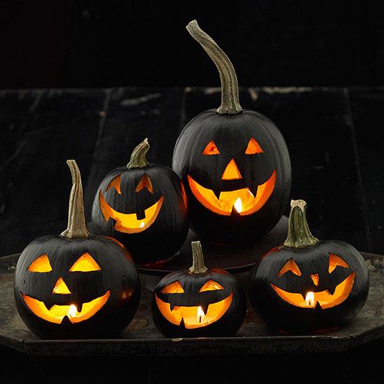 Halloween Black Carved Pumpkins