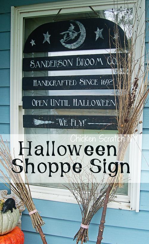 Halloween windows shoppe sign décor