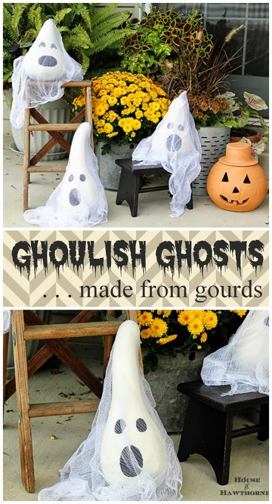 gourd ghosts outdoor halloween decorating - Diy Halloween Outdoor Decorations