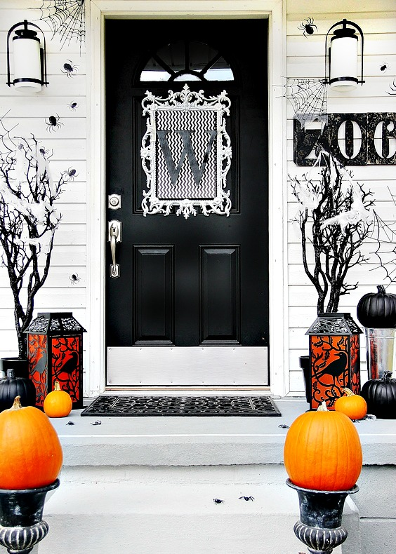 Black Halloween front door