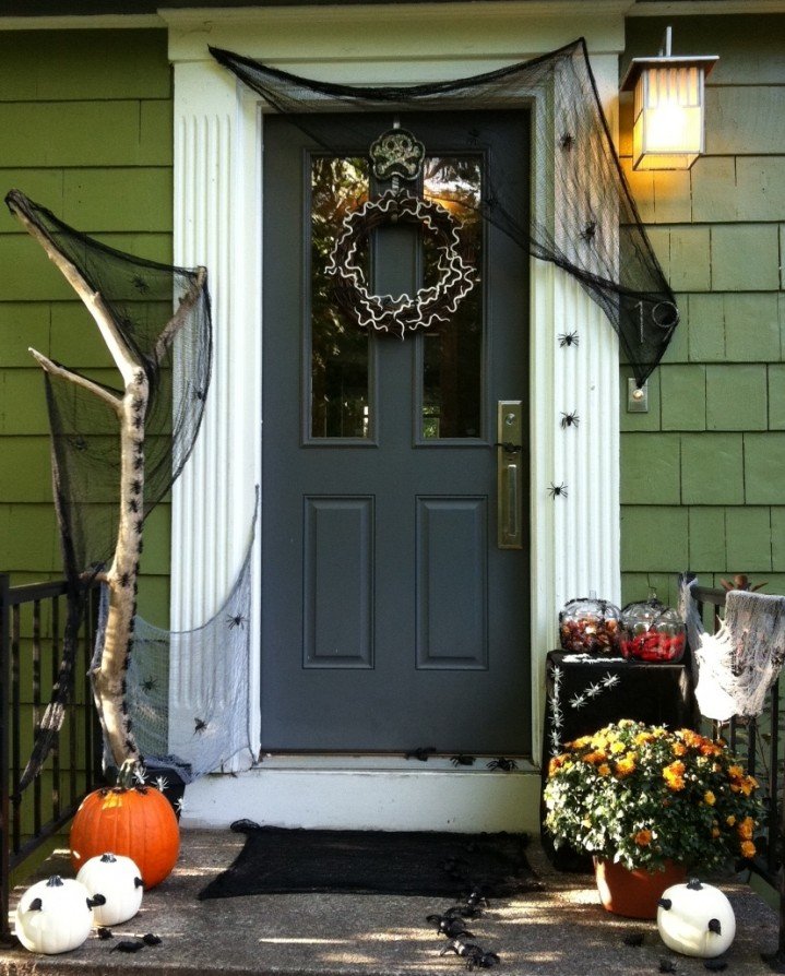 Flack Front Door for Halloween