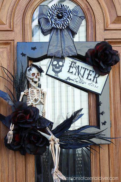 Halloween Skeleton Door Wreath