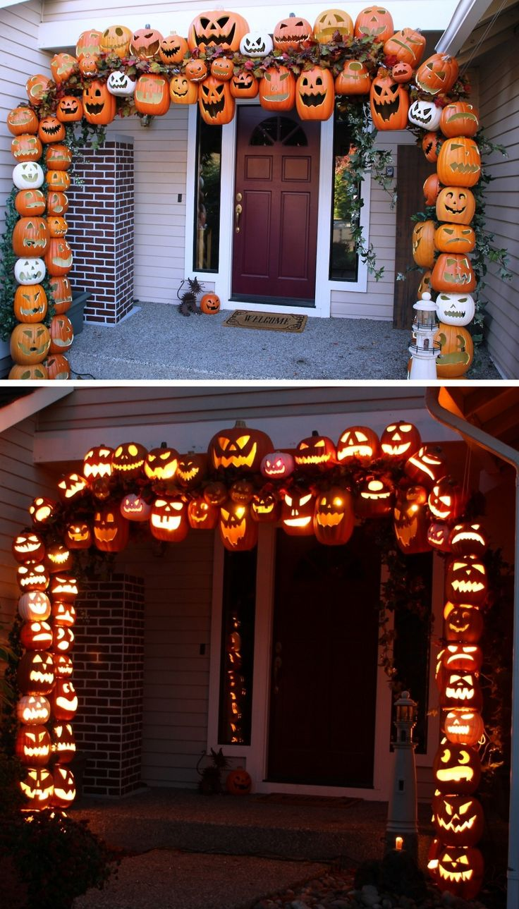 tower of terrifying pumpkins - How To Decorate For Halloween Outside