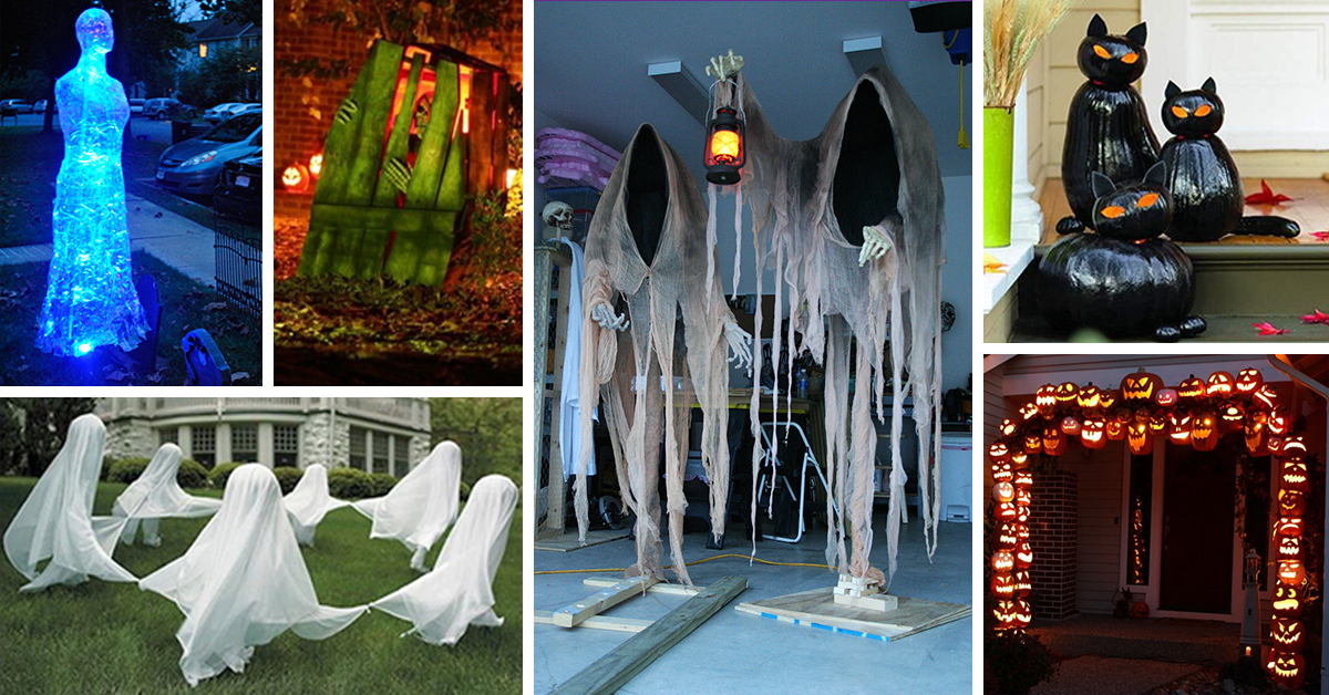 50 best diy halloween outdoor decorations for 2017. Black Bedroom Furniture Sets. Home Design Ideas