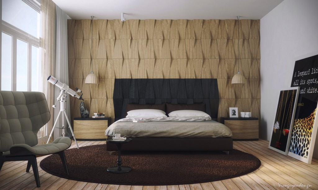 5 irregular shapes add depth - Wooden Bedroom Design