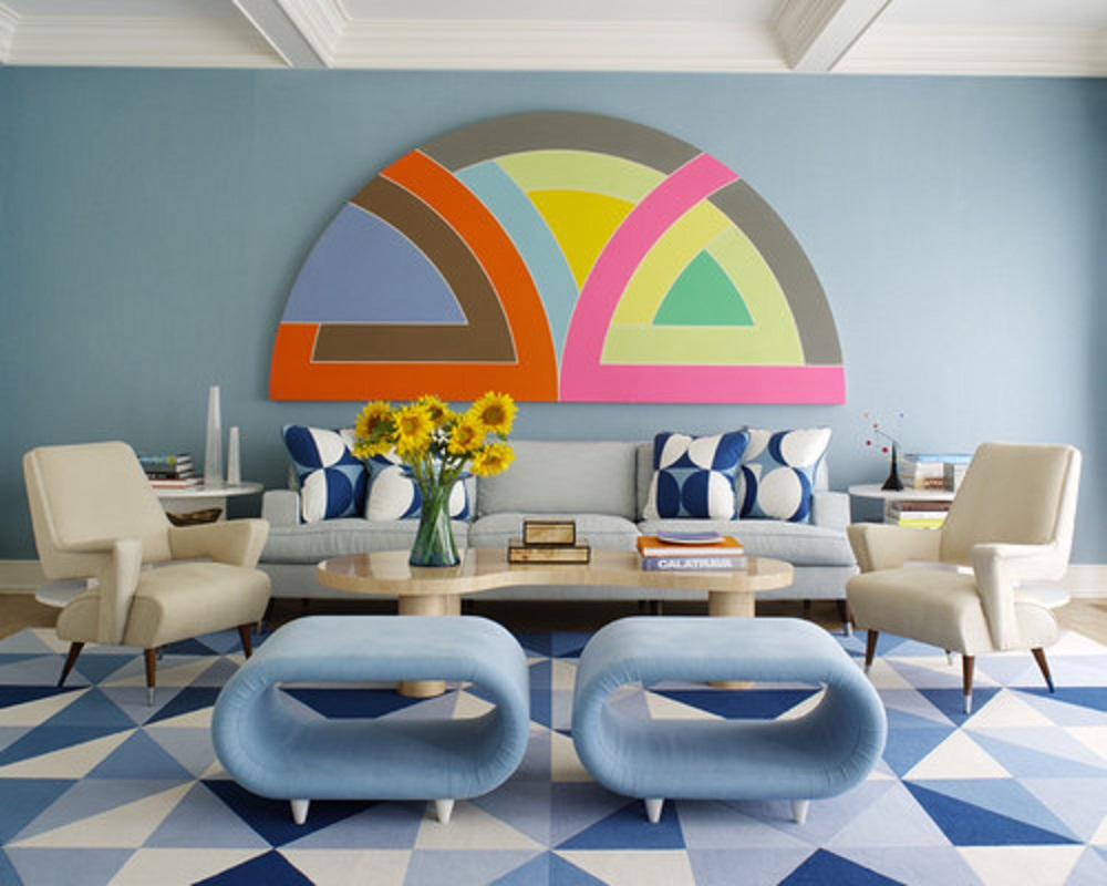 True Blue Modern Living Room Design Idea