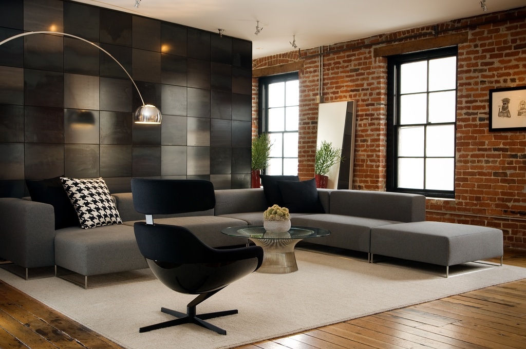 brick loft living room decoration idea