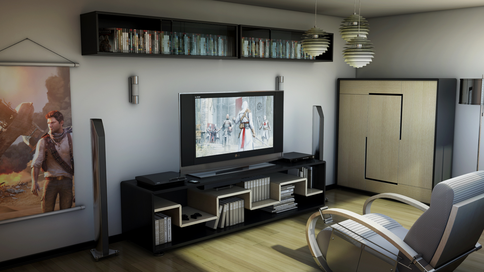 Merveilleux Modern And Sleek Video Game Room
