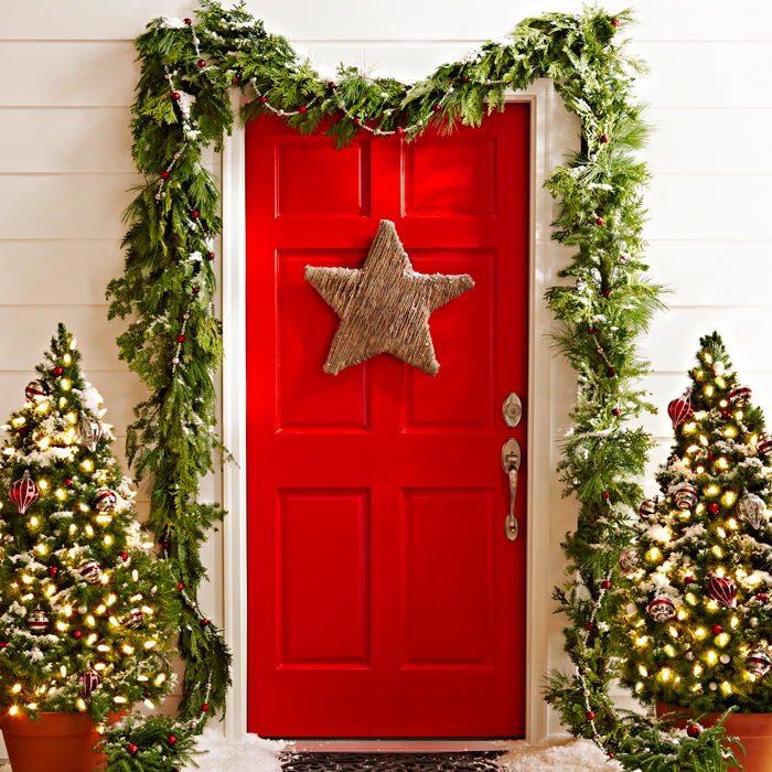 a touch of starlight christmas door decor - Christmas Front Door Decor