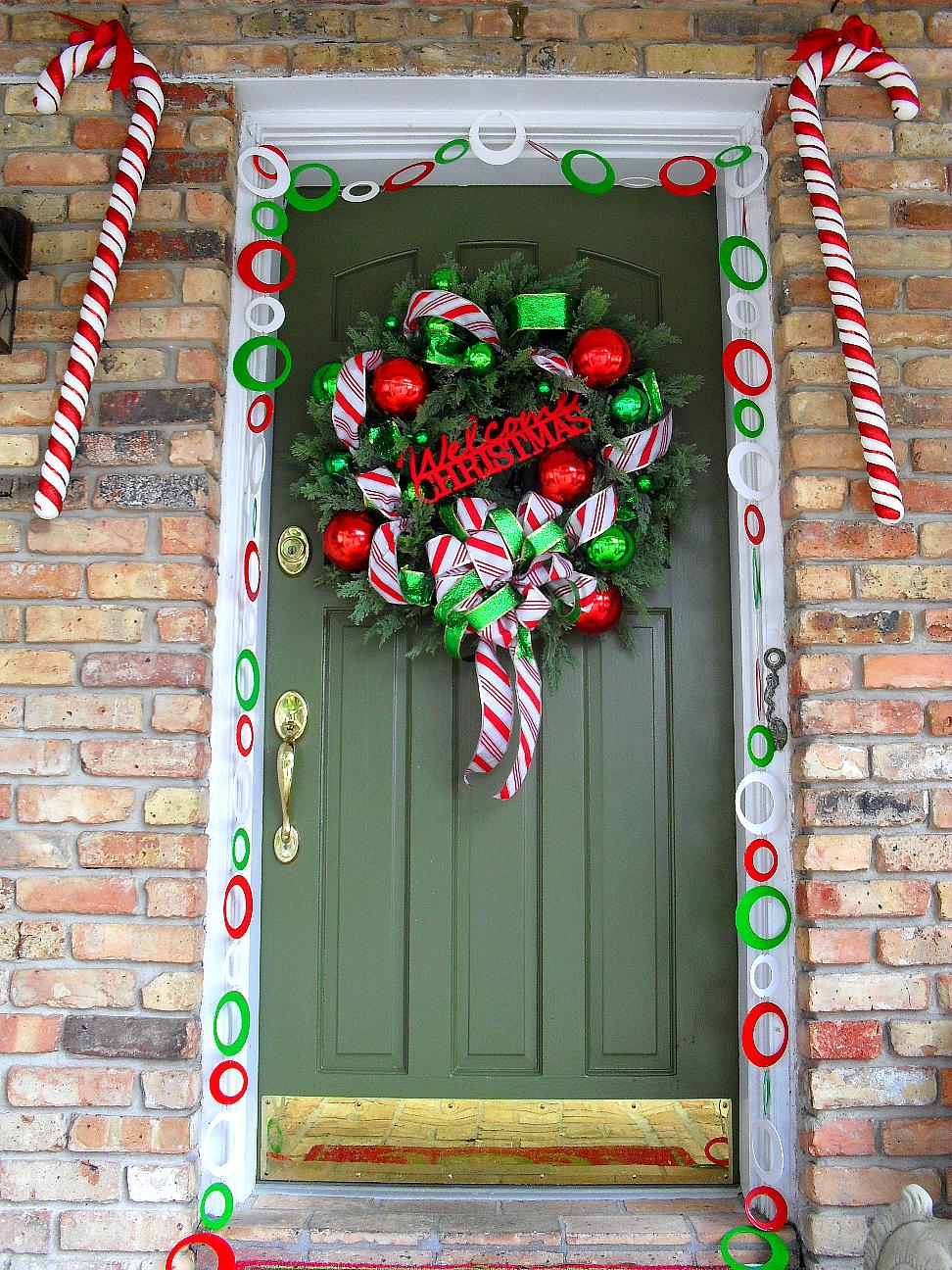 welcome to candy cane lane door decoration - How To Decorate Your Door For Christmas