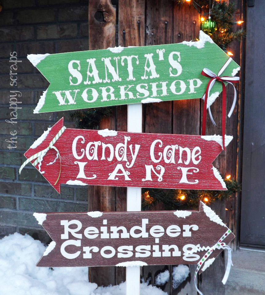winter directions signs for christmas outdoors