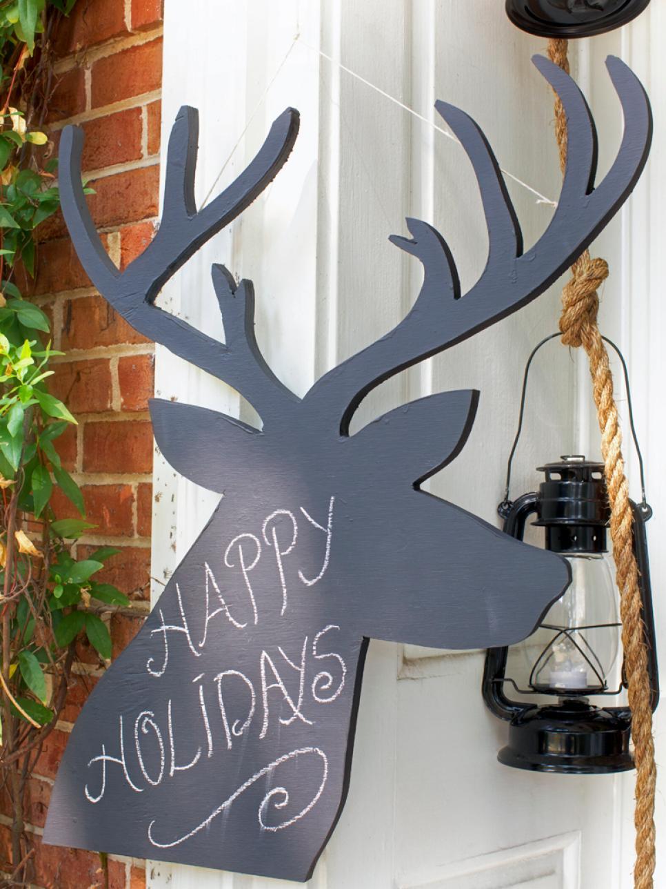 Chalkboard Reindeers Christmas Decoration
