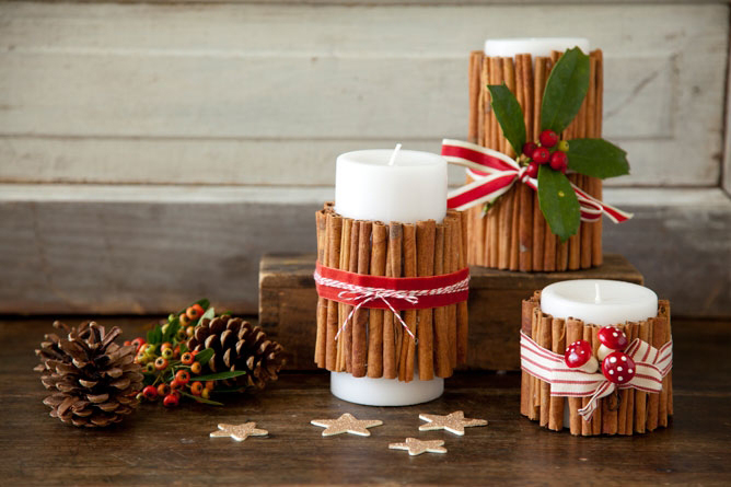 DIY Cinnamon Christmas Candles