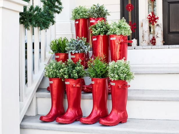 Potted Christmas Boot Plants Outdoor Decoration
