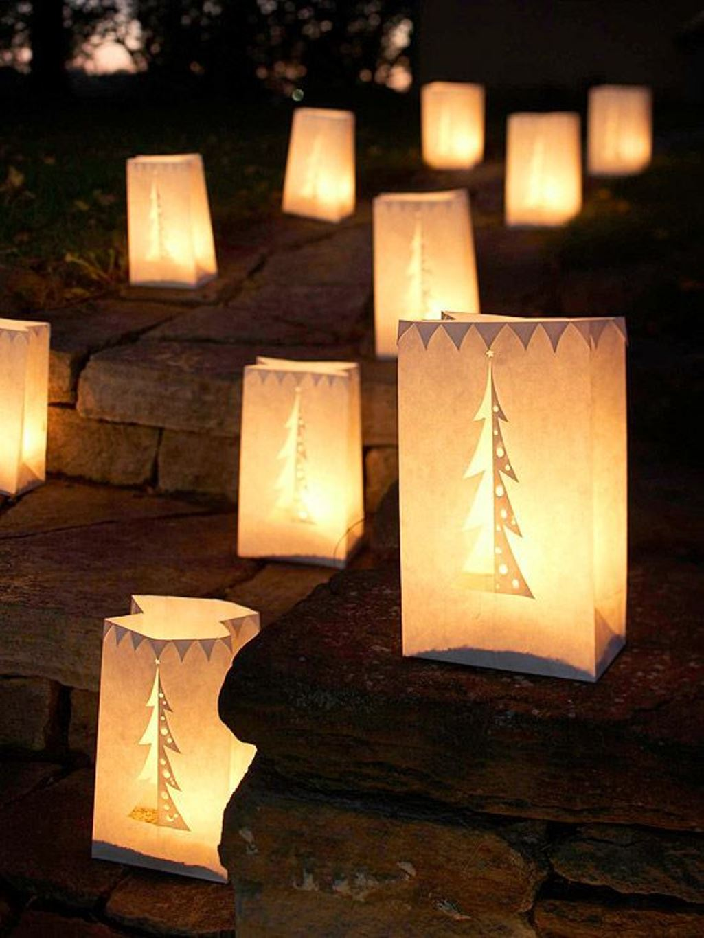 Cheap outdoor christmas decorations - Paper Bag Lanterns Christmas Decoration