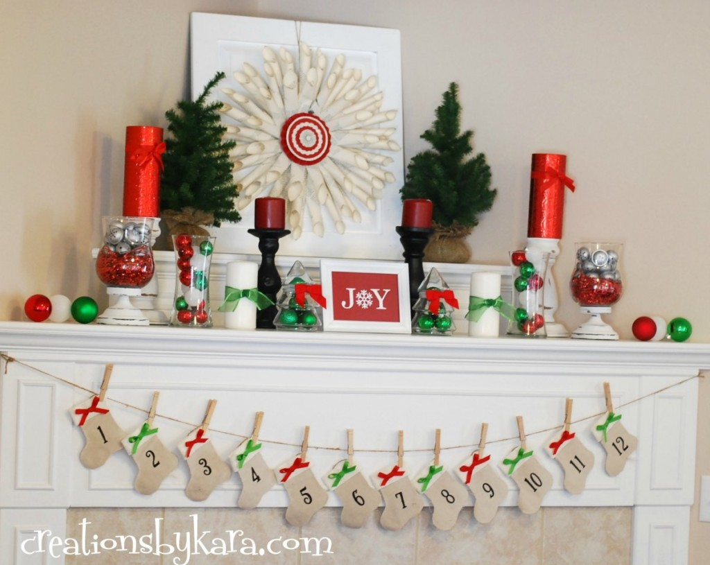 diy christmas mantle hanger - Christmas Shelf Decorations