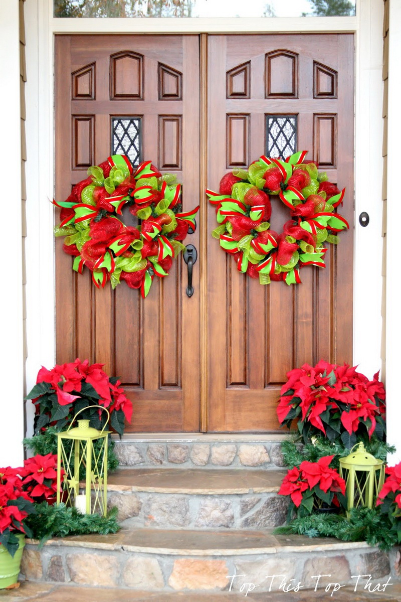 whimsical ribbon wreaths diy christmas front door decor - Outdoor Christmas Decorations Small House