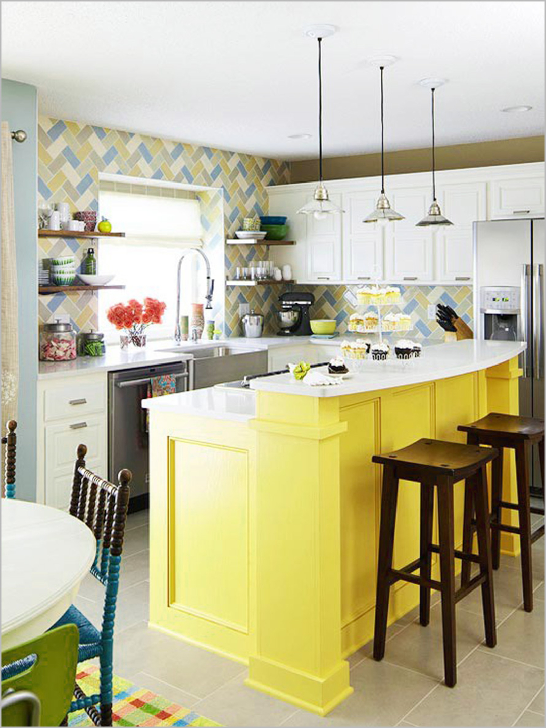 Canary In A Cage Yellow Kitchen Island Idea