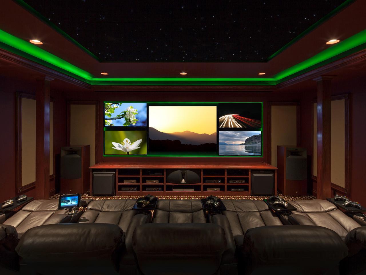 Iluminación ambiental de sala de juego verde