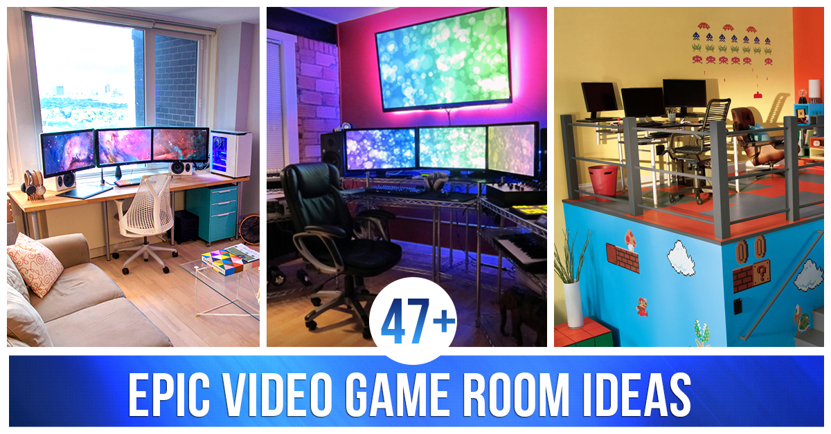 Computer gaming room  47+ Epic Video Game Room Decoration Ideas for 2017