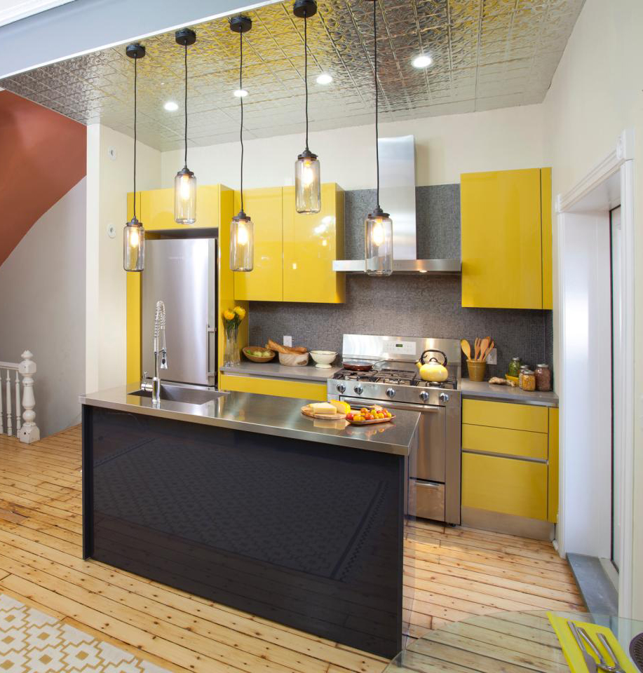 11 bright yellows and metallic surfaces - Narrow Kitchen Cabinet
