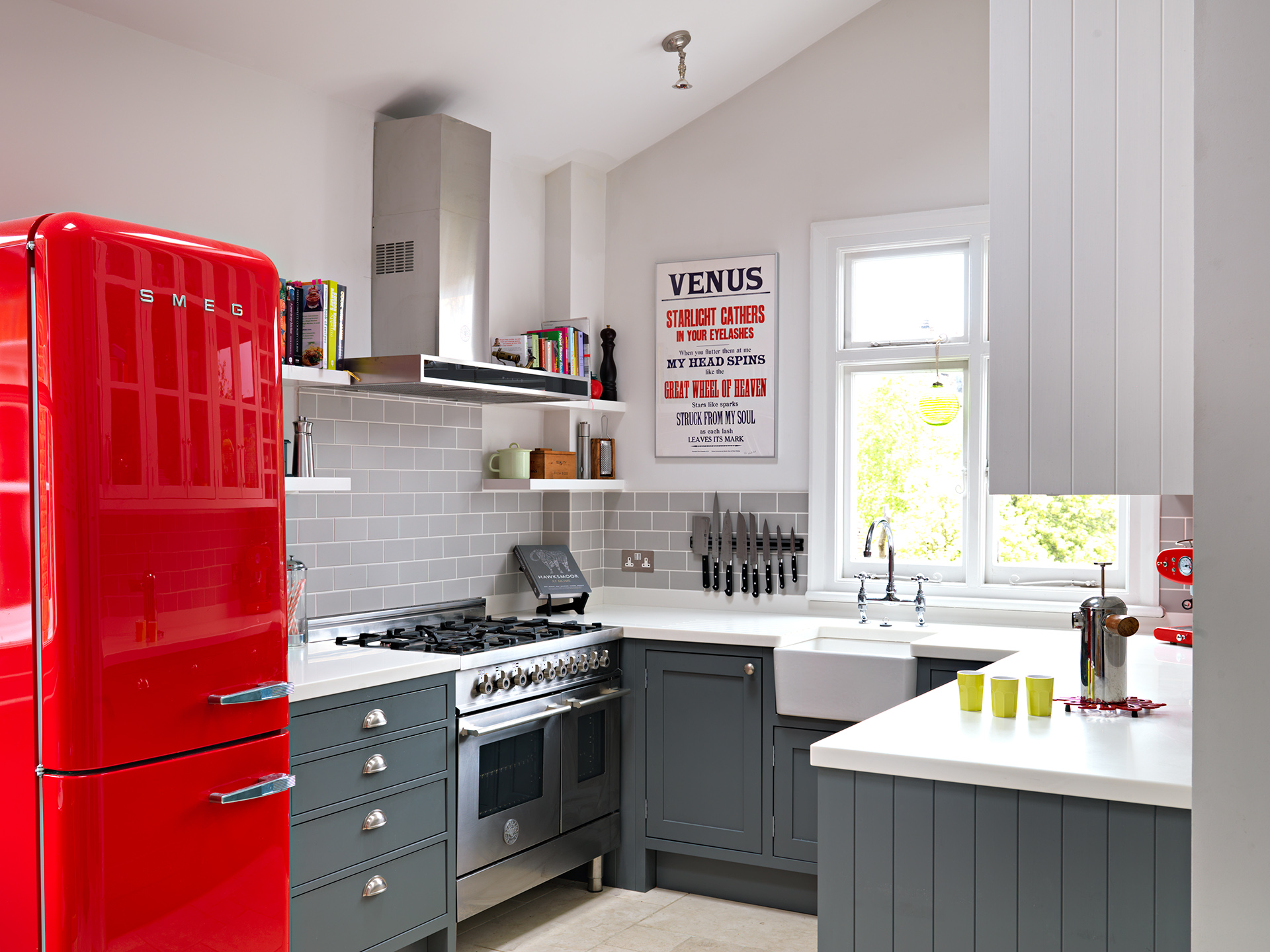 ... Small Kitchens · 13. A Cherry Red Fridge Is The Focal Point Part 86