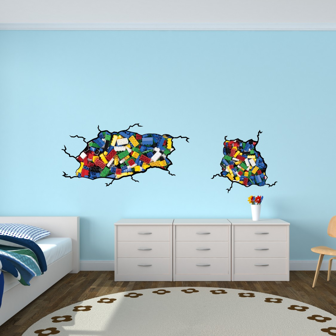Kids room ideas 15 lego room decor style motivation for Childrens bedroom wall designs