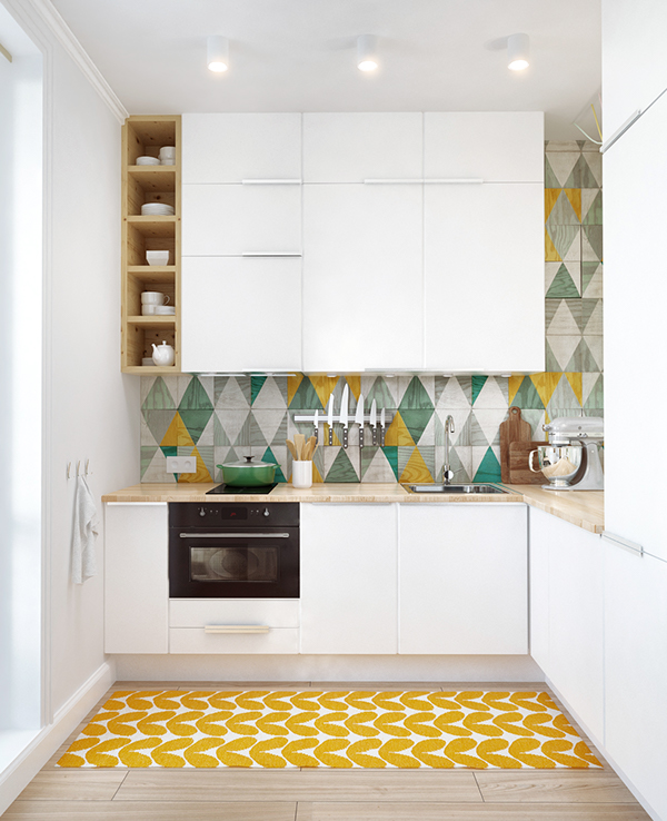 Unique Shapes and Patterns Give Life To This Little Kitchen