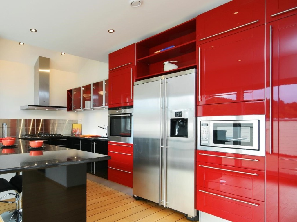 retro red modern kitchen cabibet