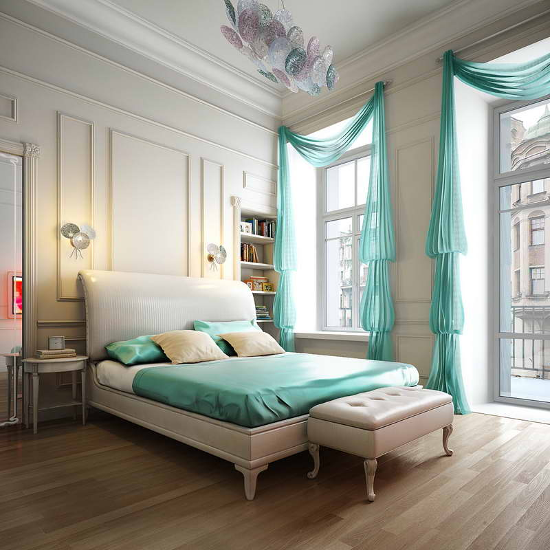 3 elegant and refined in teal - White Bedroom Decorating Ideas