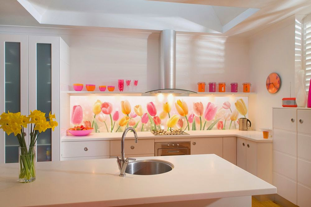 Tiles Ideas For Kitchens Part - 42: Floral Printed Glass