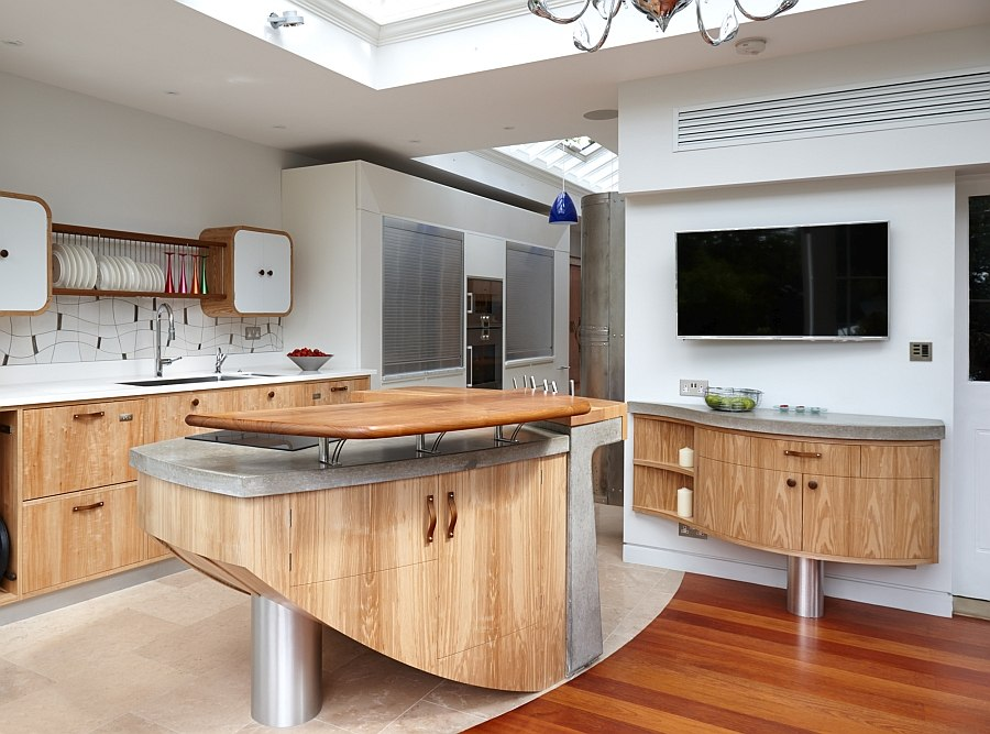 modern wooden retro meets corian - Modern Kitchens
