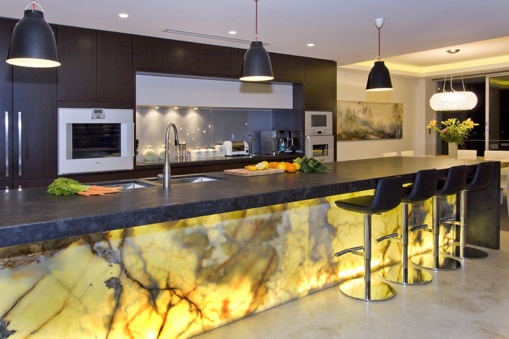 Elegant The Glowing Marble Kitchen Design