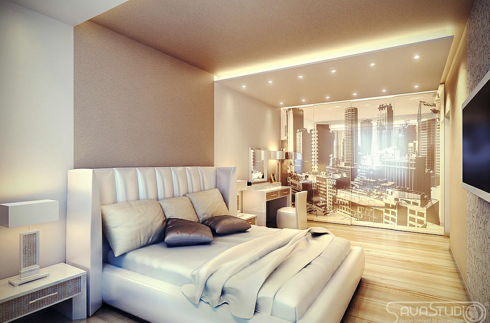 50 best bedrooms with white furniture for 2017 for Cityscape bedroom ideas