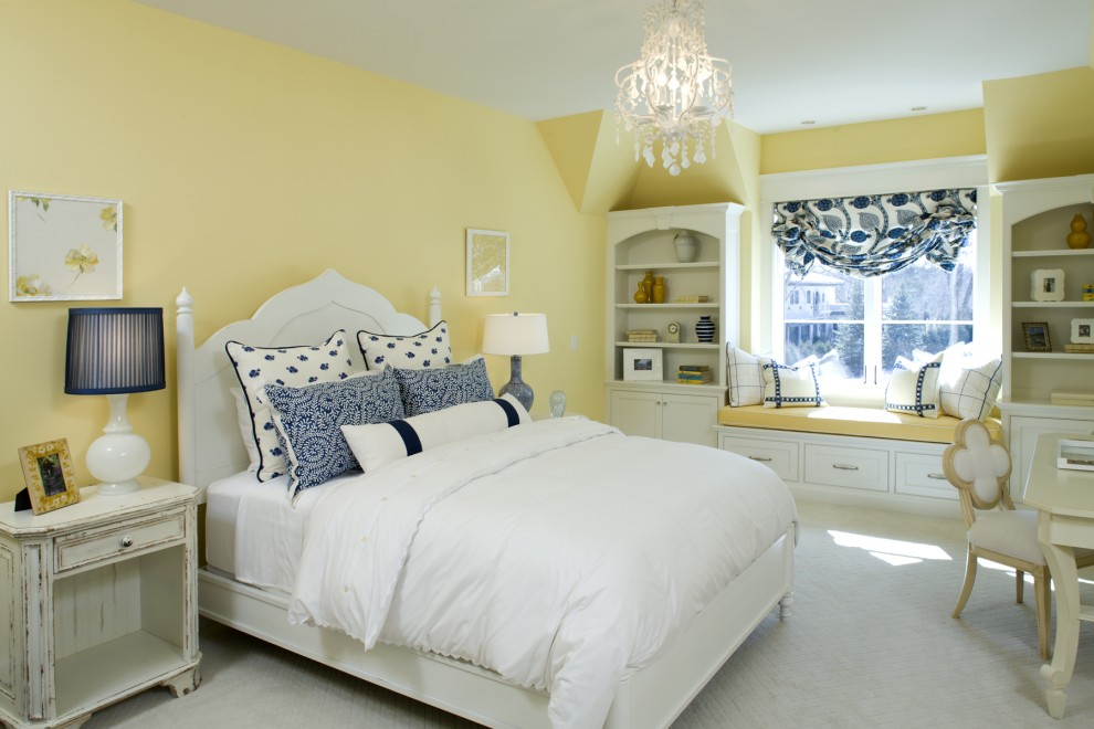 Mellow Out In Blue And Yellow. White Bedroom: ...
