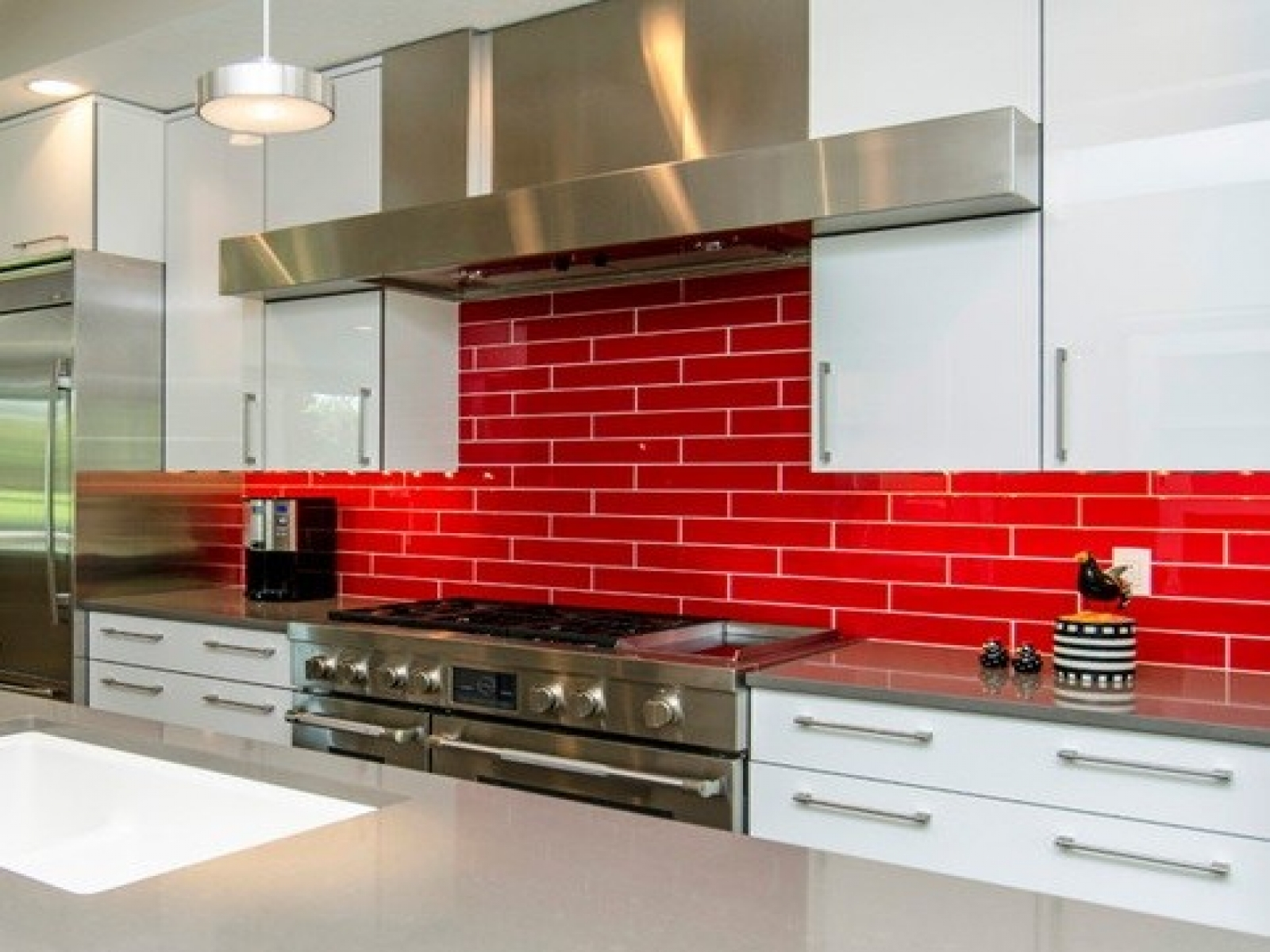 White Kitchen Red Tiles red backsplash