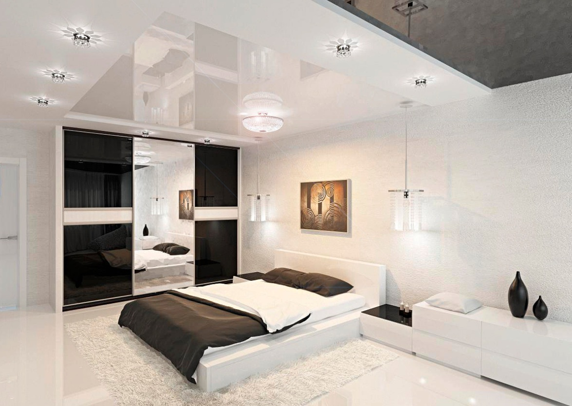 A Modern Room In Dark Brown And White