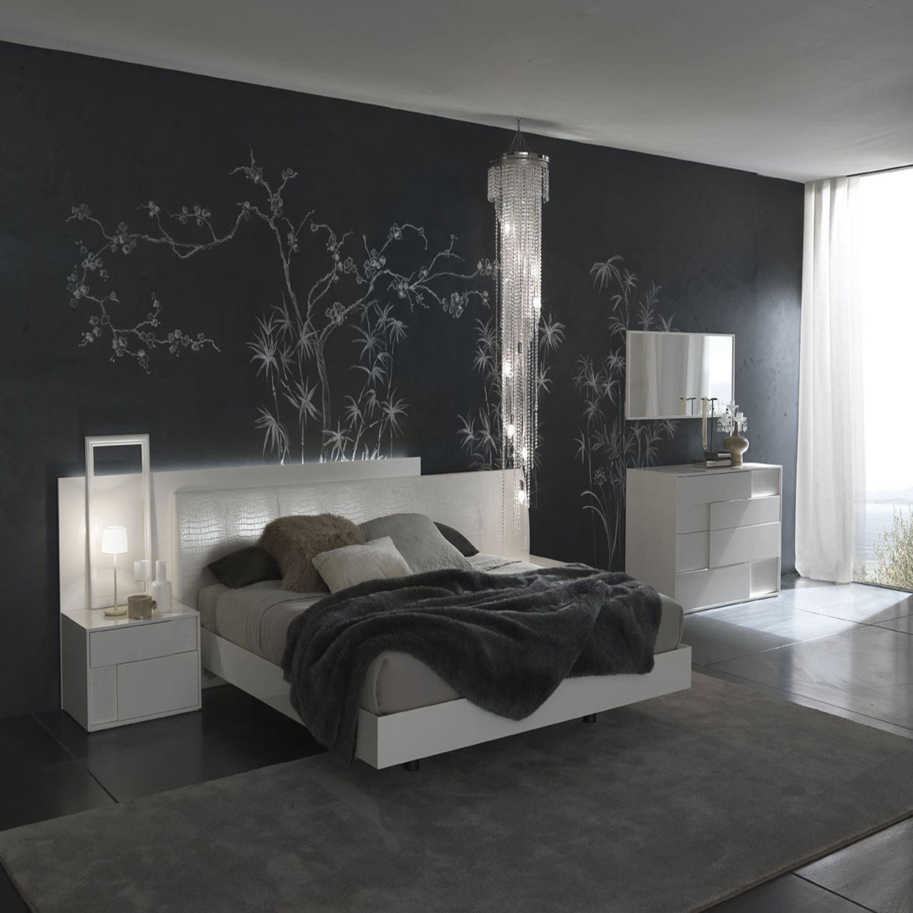 Bedroom paint designs black and white - Back In Black