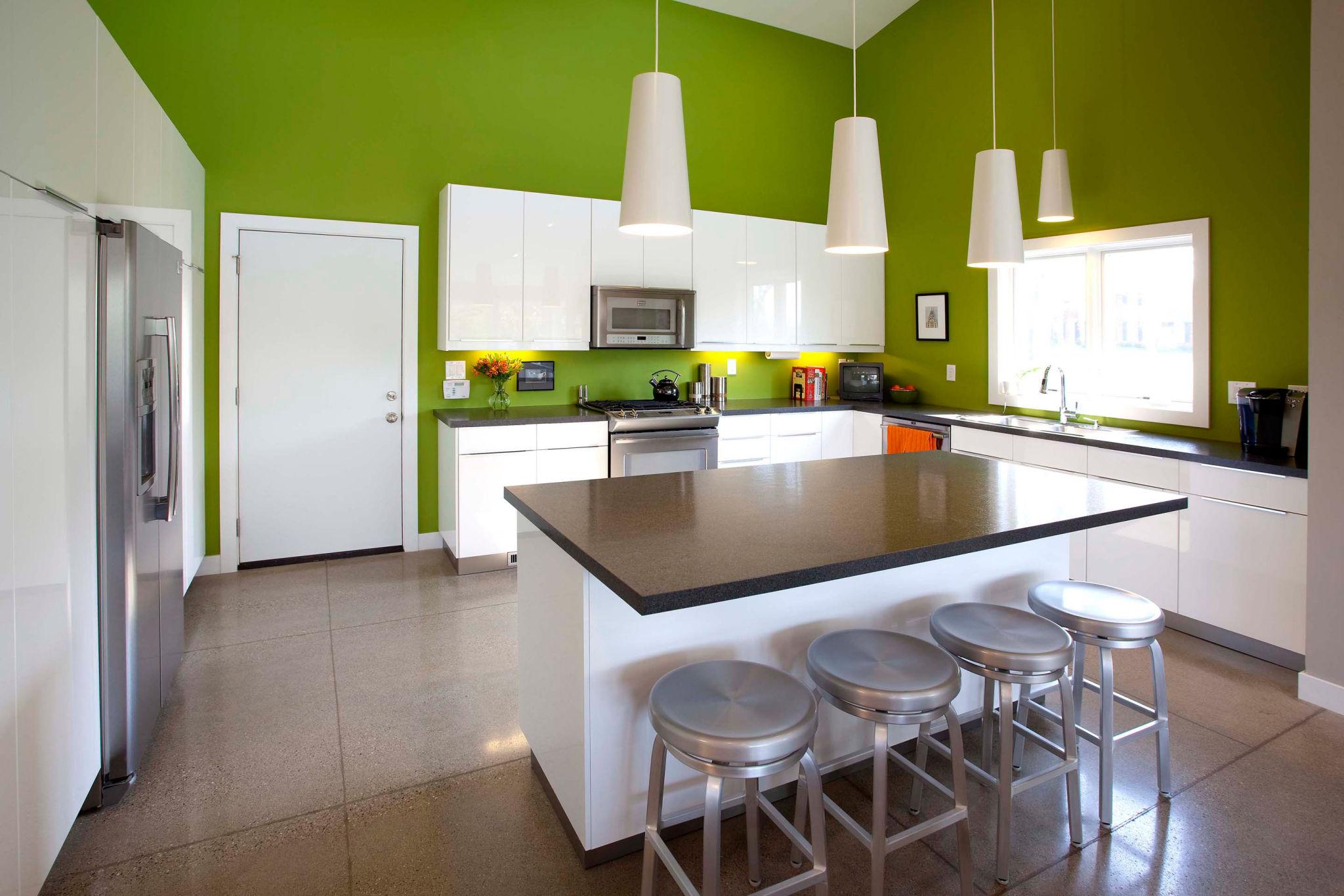 Кухня цвета лайм интерьер