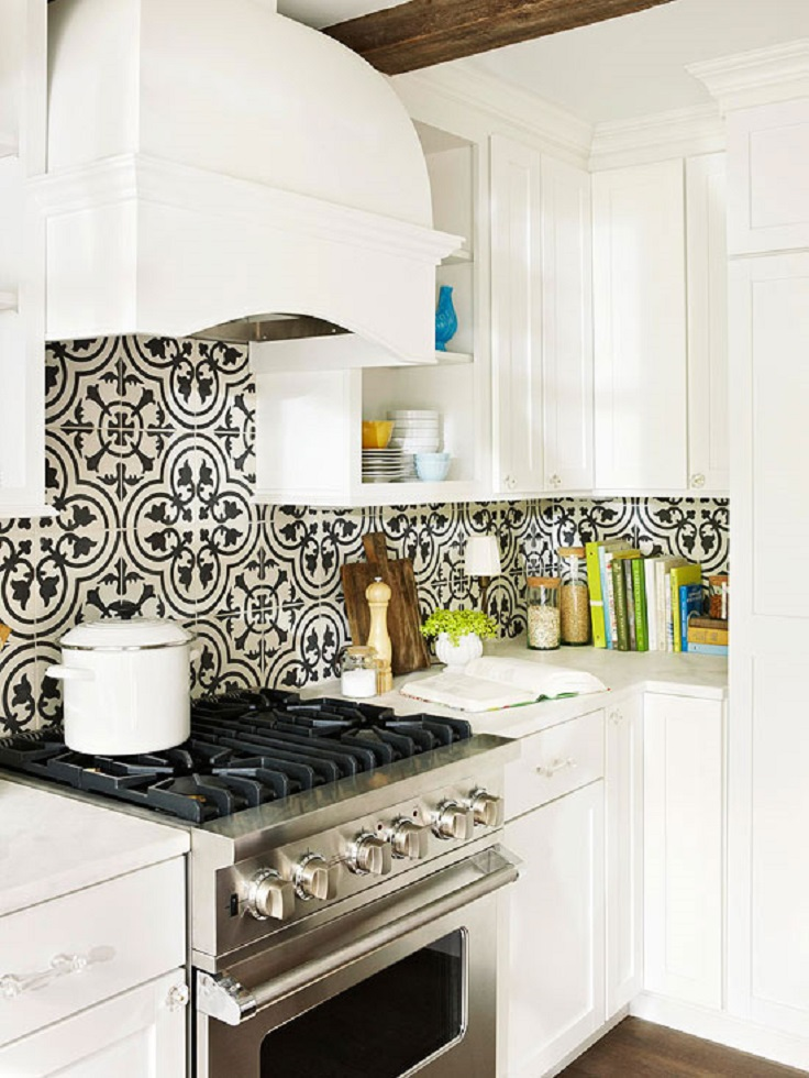 50 best kitchen backsplash ideas for 2016 - Black and white tile kitchen backsplash ...