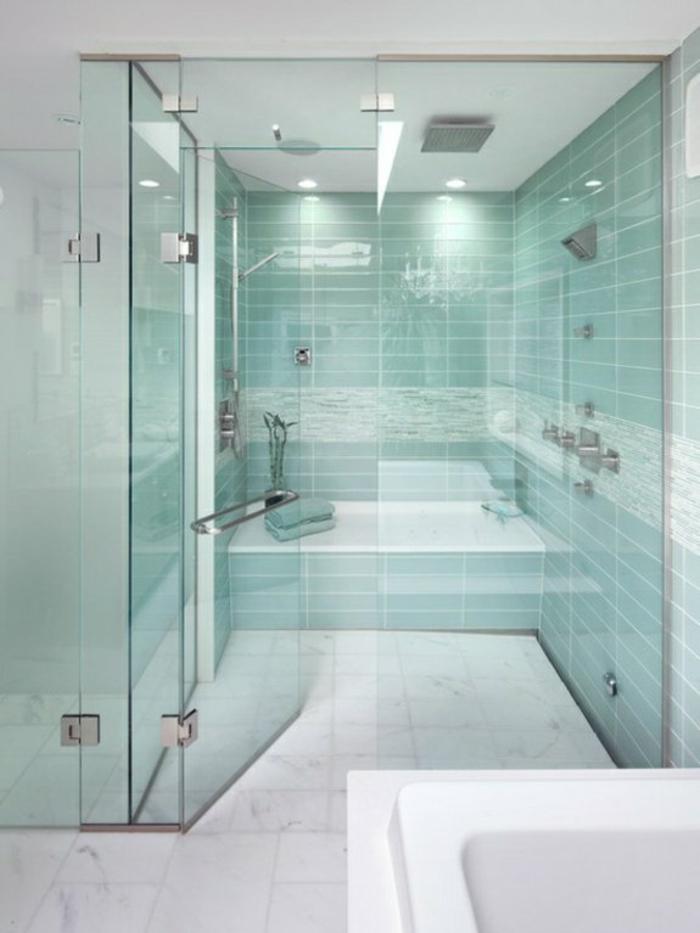 Clean Green Walk In Shower