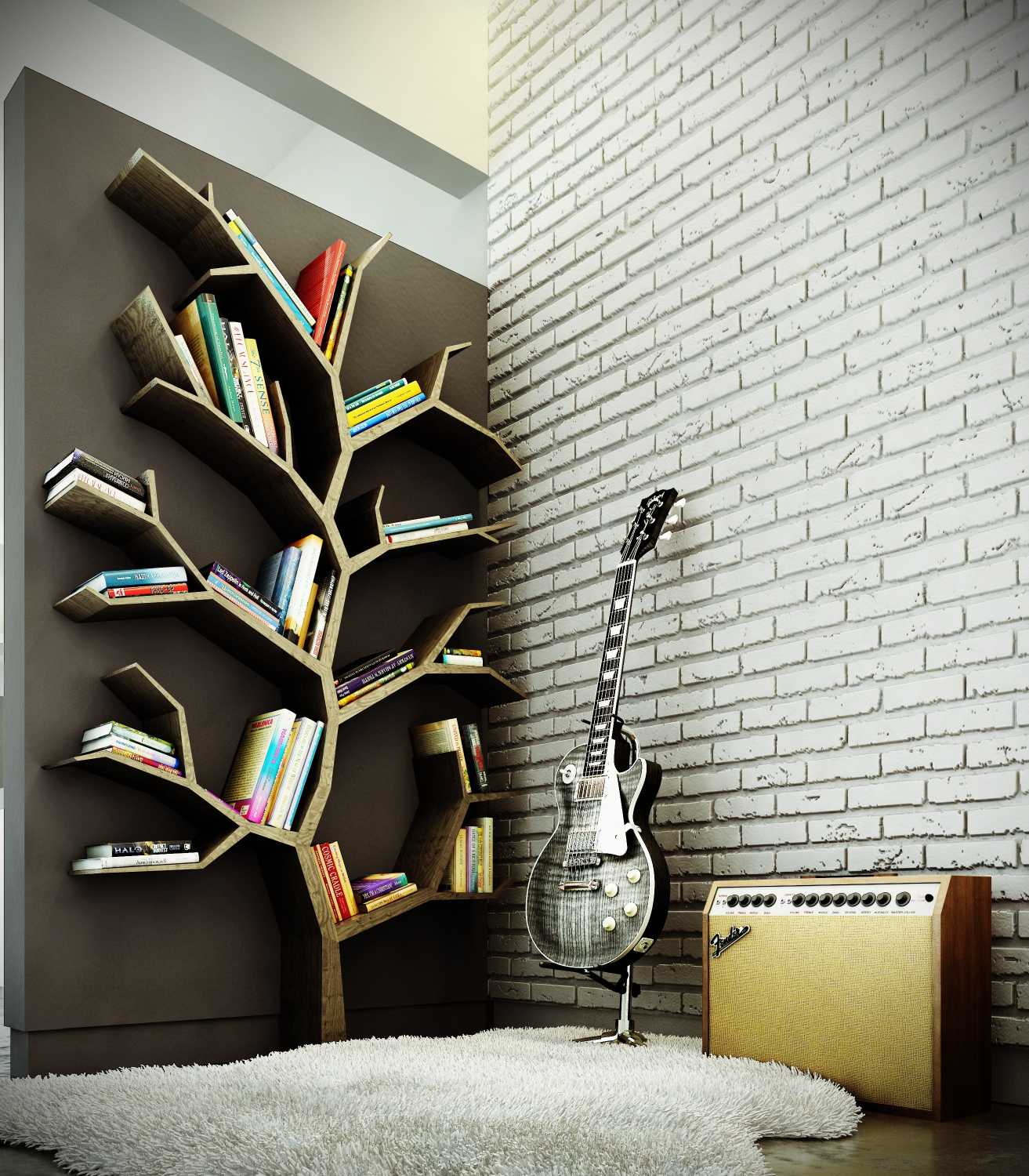 Bookshelf Ideas Part - 50: 1. Geometric Tree