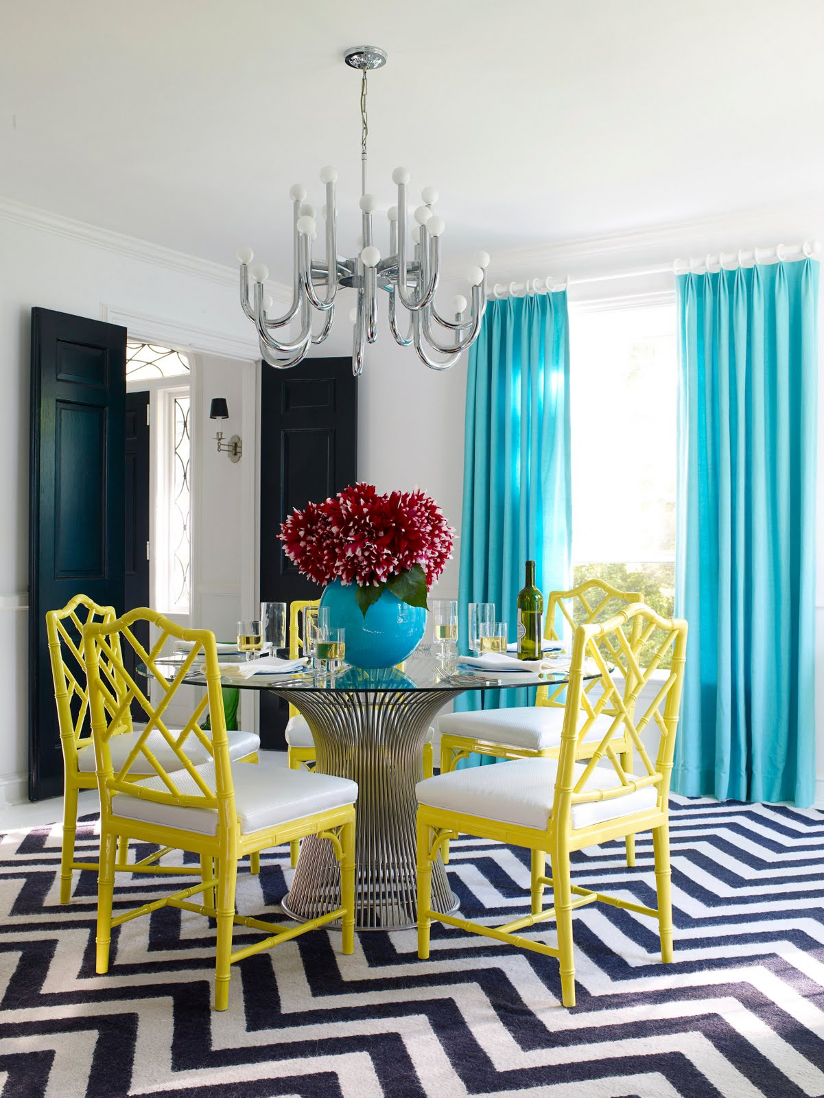 teal blue chevron wallpaper