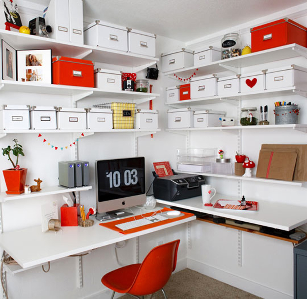 small office storage. 20. Orange You Glad Work From Home? Small Office Storage E