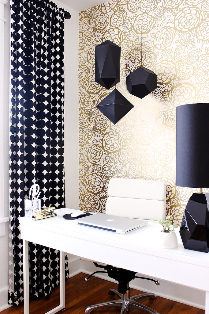 Black And White Home Office Decorating Ideas Part - 50: 21. Chic Geometric Look
