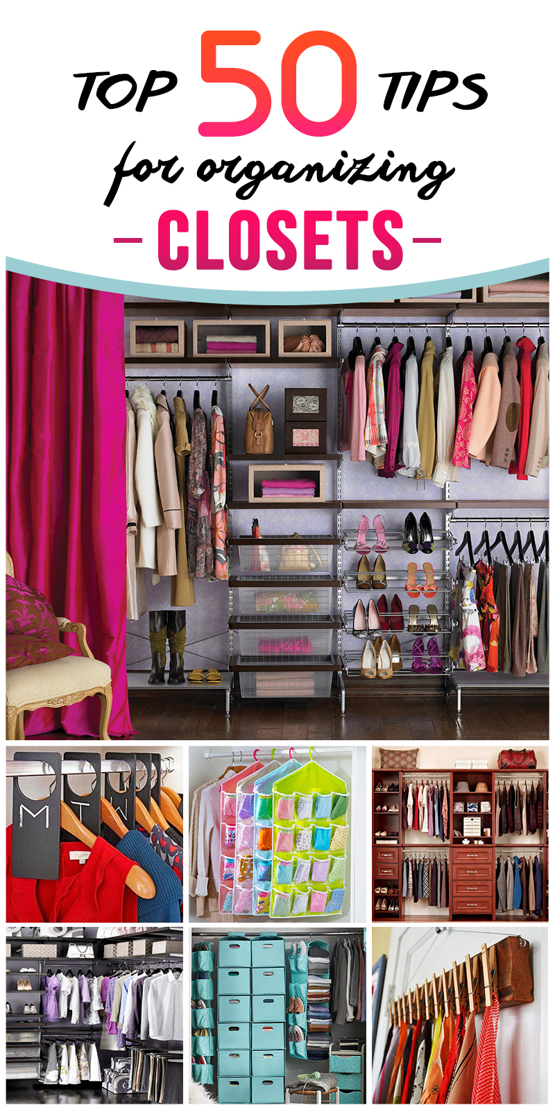 All of the systems are designed for a 6-foot-wide closet and offer a clothes rod, shelving, bins or drawers, and usually an extra component such as a belt hanger or shoe organizer.