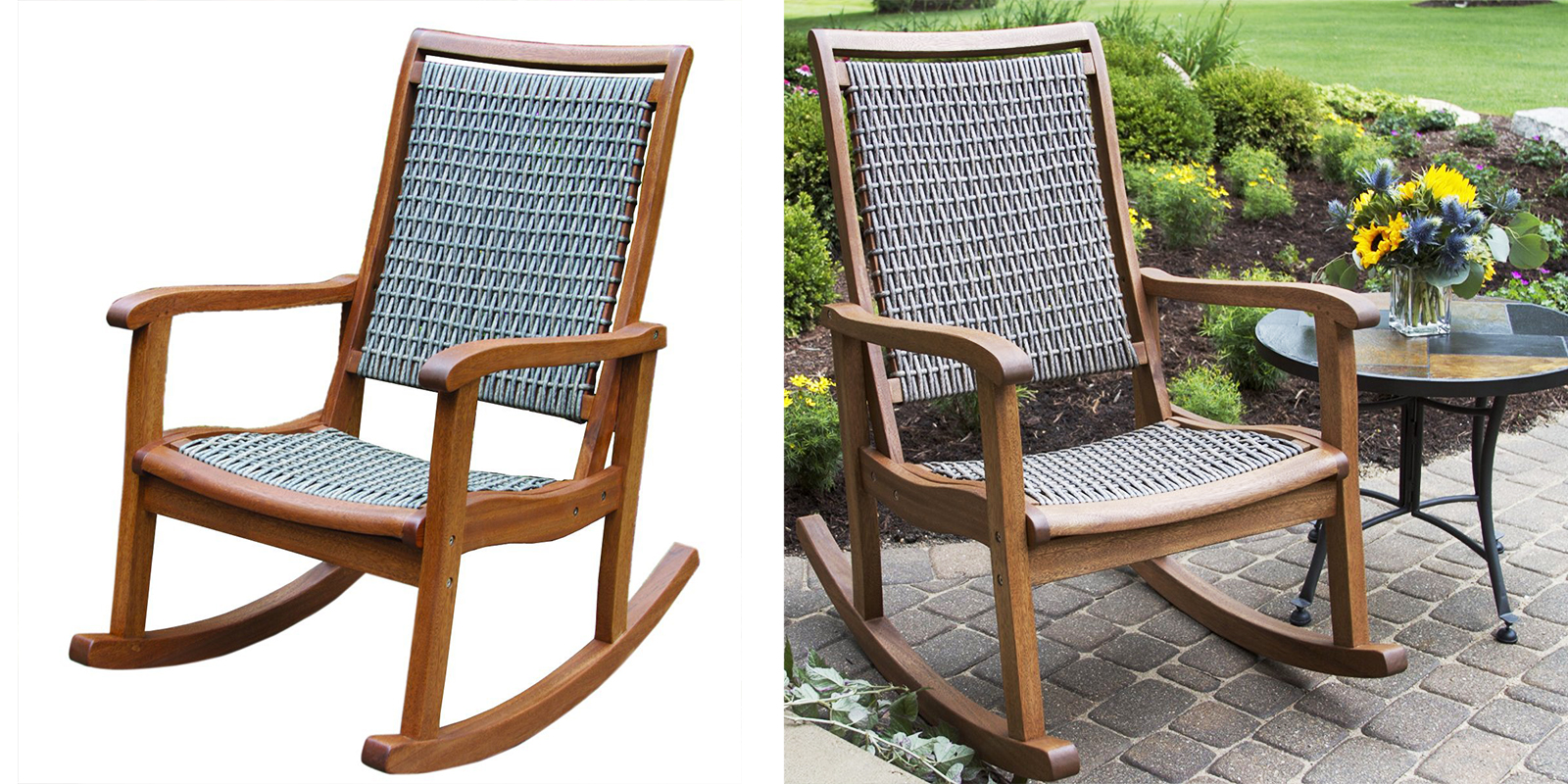 Patio Chair   Resin Wicker And Eucalyptus Rocking Chair