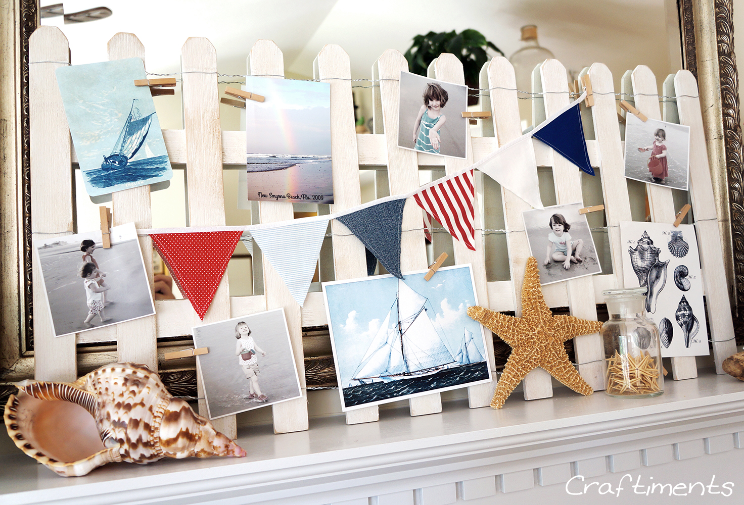 Summer Home Decor Ideas Part - 31: Photo Garlands And Summer Mantel